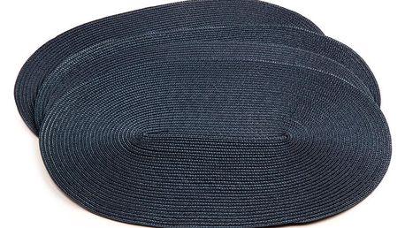 Jahu Prostírání Deco ovál tmavě modrá, 30 x 45 cm, sada 4 ks