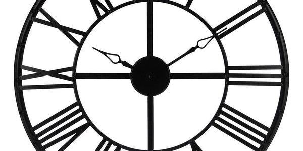 Atmosphera Créateur d'intérieur Černé nástěnné hodiny, moderní hodiny, velké hodiny, hodiny doobývacího pokoje, černé hodiny, kovové nástěnné hodiny
