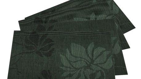 JAHU Prostírání Listy tmavě zelená, 30 x 45 cm, sada 4 ks