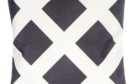 Povlak na polštář černobílé čtverce lněný