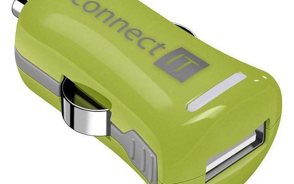 Connect IT InCarz COLORZ, 1x USB, 2,1A (V2) zelený (CI-1122)