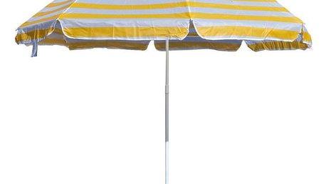 Slunečník plážový 230 cm, Happy Green, žluté pruhy