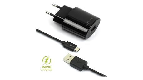 FIXED 1x USB, 2,4A + micro USB kabel černá (FIXC-UM-BK)