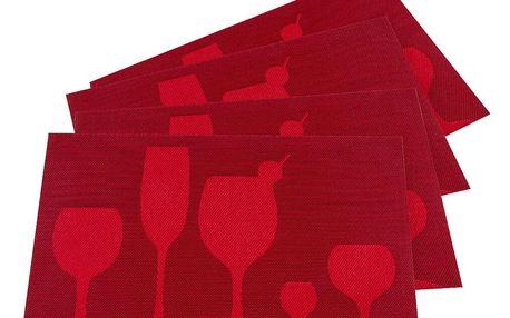 JAHU Prostírání Drink červená, 30 x 45 cm, sada 4 ks