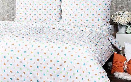 4Home Bavlněné povlečení Dots oranžová, 140 x 220 cm, 70 x 90 cm