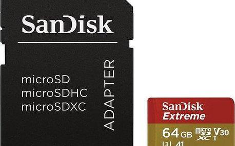 Sandisk Micro SDXC Extreme 64GB, pro akční kamery, UHS-I U3 (160R/60W) + adapter (SDSQXA2-064G-GN6AA)