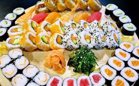 30, 44 či 60 ks sushi s wasabi, zázvorem a salátem