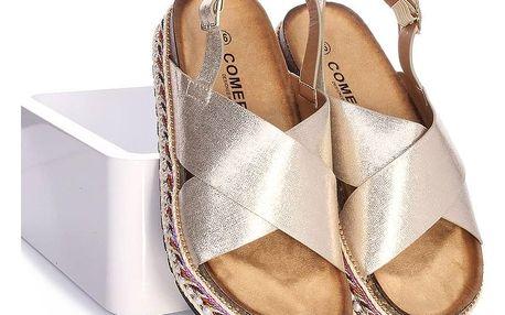 COMER Zlaté sandály na platformě LLDS-002GO Velikost: 39 (25 cm)