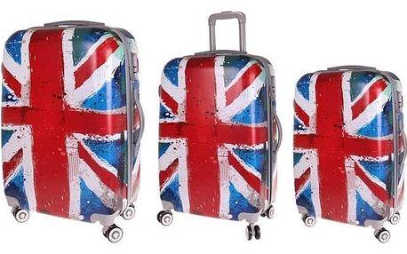 Sada 3 skořepinových kufrů (vlajka)