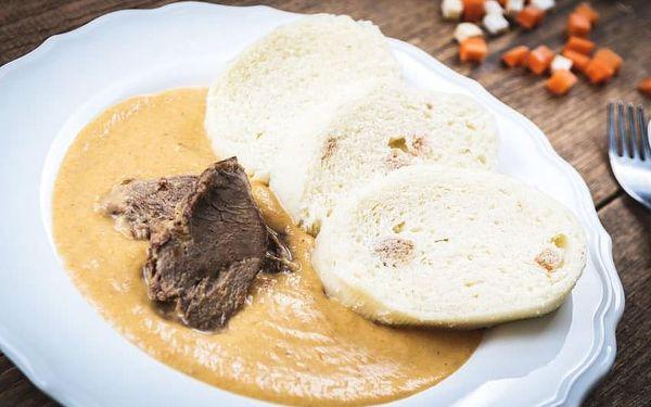 Svíčková, guláš nebo kachna + káva a dezert pro 1 os. + soutěž
