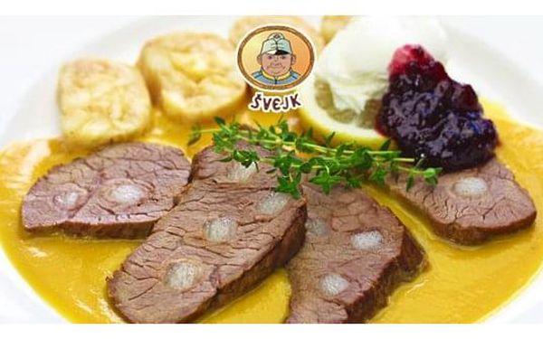 Švejk ¼ kachny, bramborový knedlík, dezert a presso pro 1 osobu4