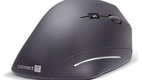 Myš Connect IT Vertical Ergonomic Wireless černá (/ optická / 6 tlačítek / 1600dpi) (CMO-2510-BK)