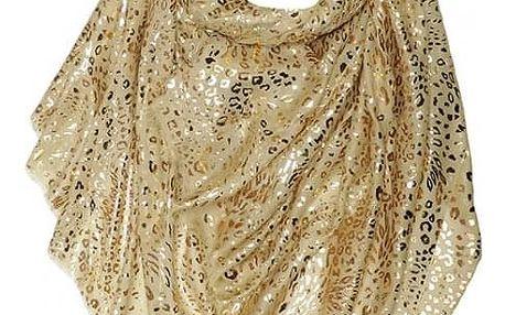 Dámský zlatý šátek Gold Leopard