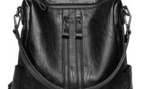 Koženkový dámský batoh s popruhy - černá barva - dodání do 2 dnů