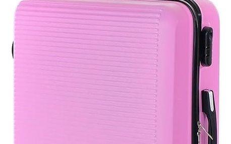 Pretty UP Cestovní skořepinový kufr ABS03 M, růžová