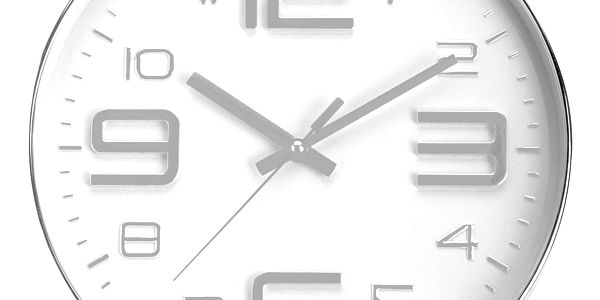 Emako Kulaté nástěnné hodiny, ručičkové, stříbrné - Ø 30 cm