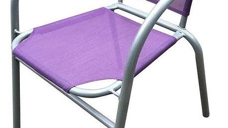 HAPPY GREEN Ocelové křesílko textilen - fialové