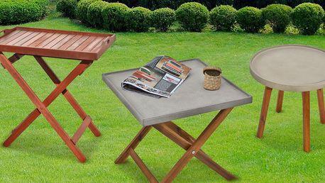 Zahradní servírovací stolky ze dřeva i cementu