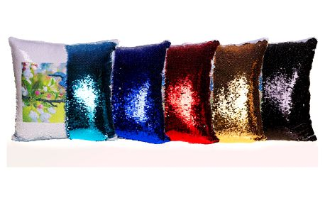 Polštář s dvoubarevnými flitry a vaší fotografií