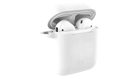 Celly Aircase pro Apple AirPods + nástavce do uší bílé (AIRCASEWH)
