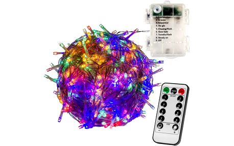 VOLTRONIC® 59577 Vánoční LED osvětlení 10 m - barevné 100 LED + ovladač BATERIE