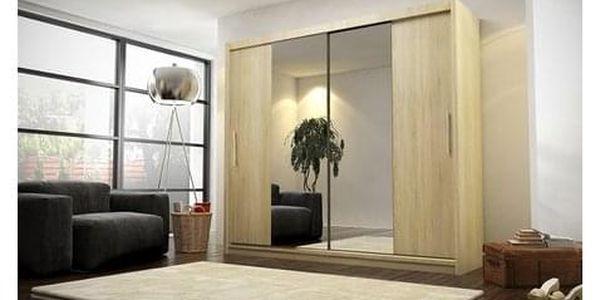 Kvalitní šatní skříň KOLA 4 dub sonoma šířka 180 cm Včetně LED osvětlení2
