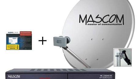 Satelitní komplet Mascom MS-2350/80MBL+M7, příjem 2 družic s kartou Skylink černý (S-2350/80MBL+M7)