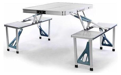 Garthen 340 Skládací hliníkový stůl s vestavěnými lavicemi