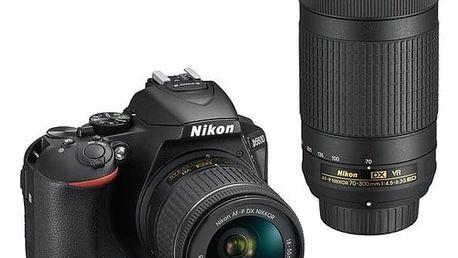 Digitální fotoaparát Nikon D5600 + 18-55 AF-P VR + 70-300 AF-P VR (VBA500K004) černý Dárkový poukaz Nikon 1000 Kč + DOPRAVA ZDARMA