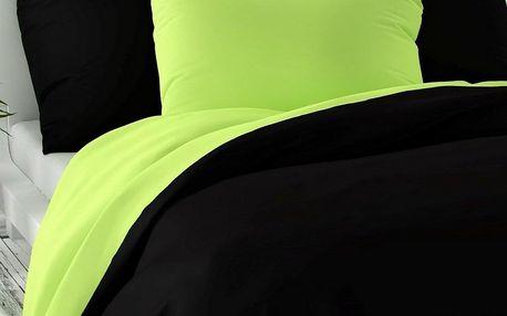 Kvalitex Saténové povlečení Luxury Collection černá/světle zelená, 140 x 200 cm, 70 x 90 cm