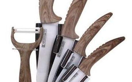 Keramické nože se stojánkem – dekor dřevo