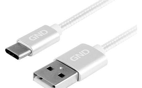 GND USB / USB-C, 1m, opletený stříbrný (USBAC100MM05)