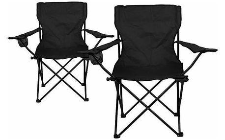 Divero 33436 Kempingová sada - 2x skládací židle s držákem - černá