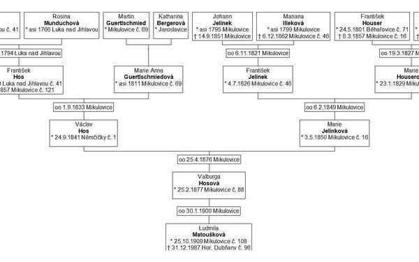 Úplný vývod z předků pro 3 generace - 14 osob2