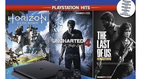 Herní konzole Sony PlayStation 4 PlayStation 4 1 TB + Horizon: Zero Dawn + The Last of Us + Uncharted 4 A Thief's End černá (PS711719931508)