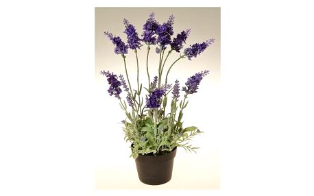 Umělá květina Levandule v květináči tmavě fialová, 38 cm