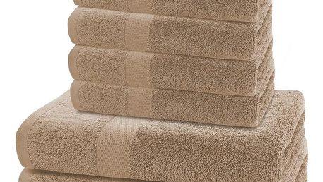 DecoKing Sada ručníků a osušek Marina světle hnědá, 4 ks 50 x 100 cm, 2 ks 70 x 140 cm