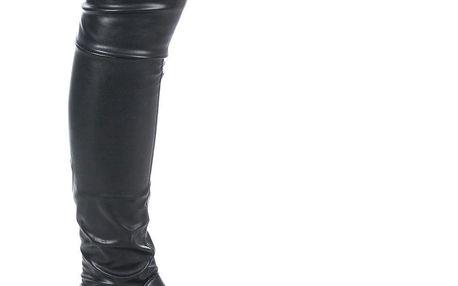 Modern World Mušketýrky dámské kozačky nad kolena kůže