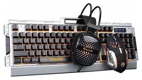 Marvo CM303, klávesnice, myš, headset, US černá/stříbrná (CM303 EN)