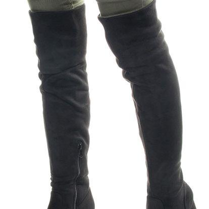 Modern World Dámské kozačky nad kolena na podpatku