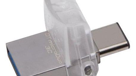 USB Flash Kingston DataTraveler MicroDuo 3C 32GB OTG USB-C/USB 3.1 stříbrný (DTDUO3C/32GB)