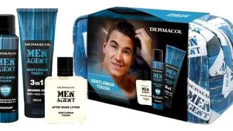 Dermacol Men Agent Gentleman Touch 3in1 dárková kazeta pro muže sprchový gel 250 ml + deodorant 150 ml + voda po holení 100 ml + kosmetická taška