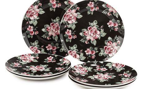 Altom 6dílná sada dezertních talířů Paris Rose 20 cm, černá