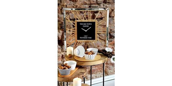 Home Styling Collection Dřevěné hodiny THE OLD TOWN, nástěnné, 40 x 40 cm2