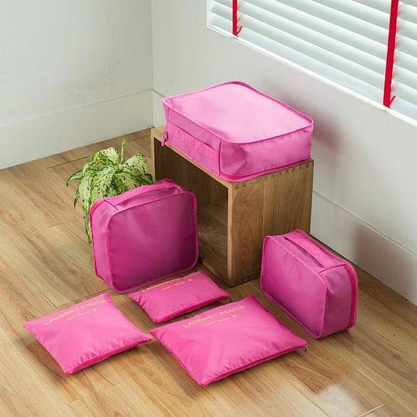 Tmavě růžové cestovní organizéry Aria 68742