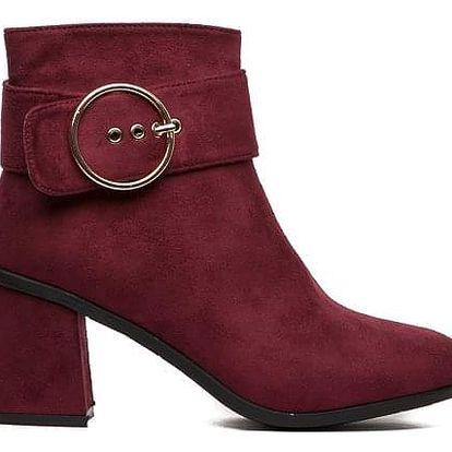 Dámské vínové kotníkové boty Nora 1551
