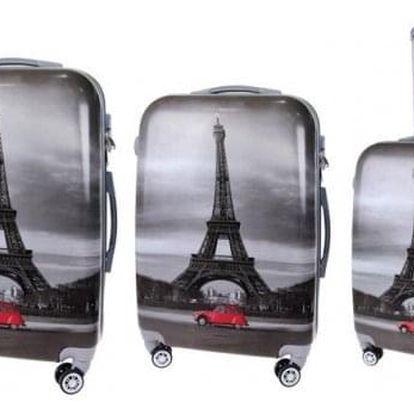 Sada 3 kufrů (Černé - Eiffelovka)