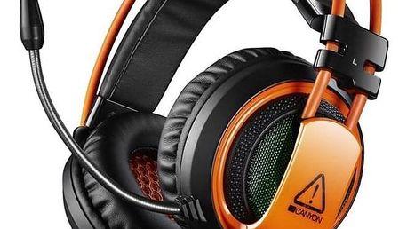 Canyon CND-SGHS5, USB + 3,5mm jack černý/oranžový (CND-SGHS5)