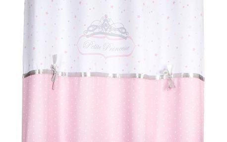 Emako Závěs na okna, růžový závěs, dekorační závěs PRINCESS s lukem, 140 x 260 cm, růžová barva