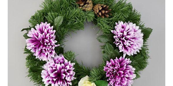 Dušičkový věnec s chryzantémami 30 cm, fialová